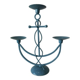Vintage Nautical Blue Wrought Iron Anchor Candelabra For Sale
