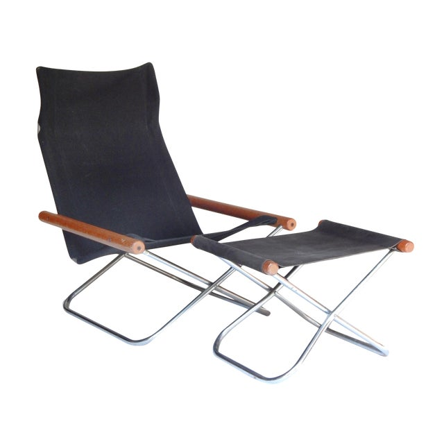 Canvas Folding Chair and ottoman by Takeshi NII For Sale