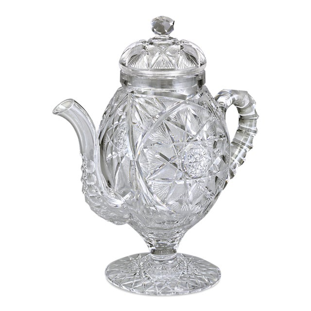 American Classical American Brilliant Cut Glass Coffee Pot by Meridan For Sale - Image 3 of 4