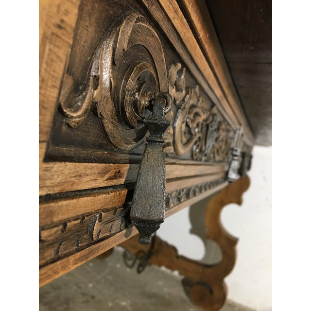 19th Century Walnut and Wrought Iron Desk with Two Drawers and Lyre Legs For Sale In Miami - Image 6 of 12