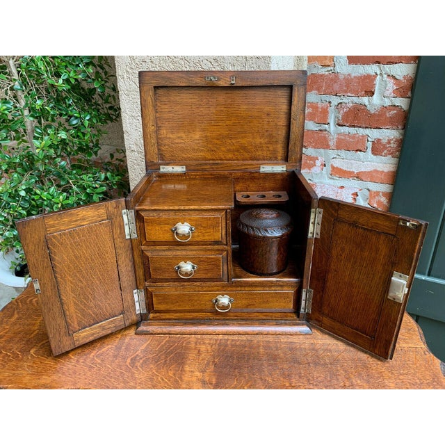 Antique English Tiger Oak Pipe Smoke Cabinet Card Game Box Humidor Lift Top For Sale In Dallas - Image 6 of 13