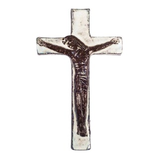 Wall Crucifix in Ceramic, Hand-Painted, White, Brown, Made in Belgium, 1950s