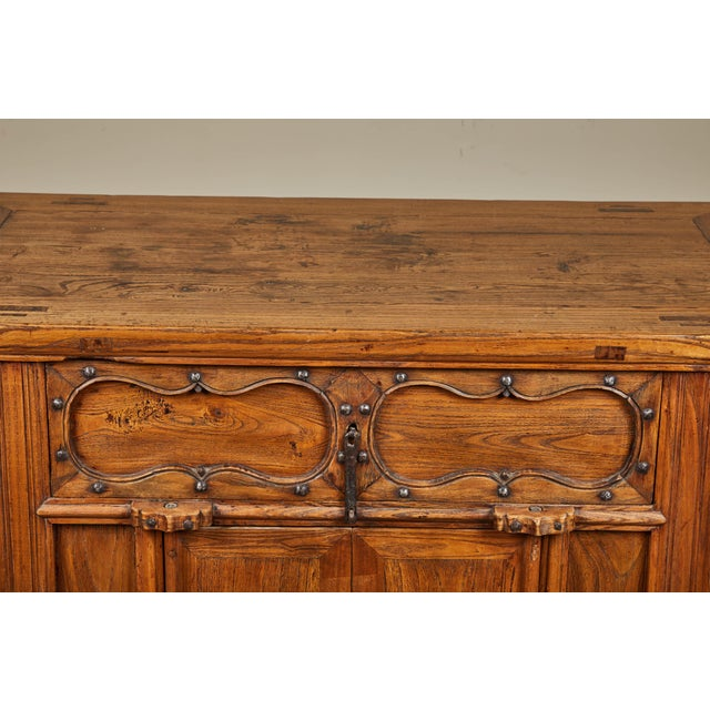 Brown 19th C. Chinese Elm Altar Cabinet For Sale - Image 8 of 11