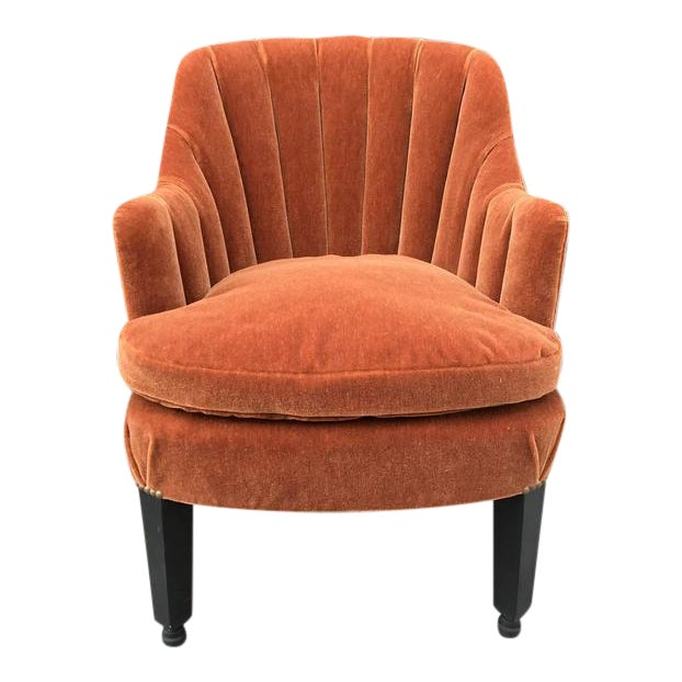 French Art Deco Side Chair in Mohair For Sale