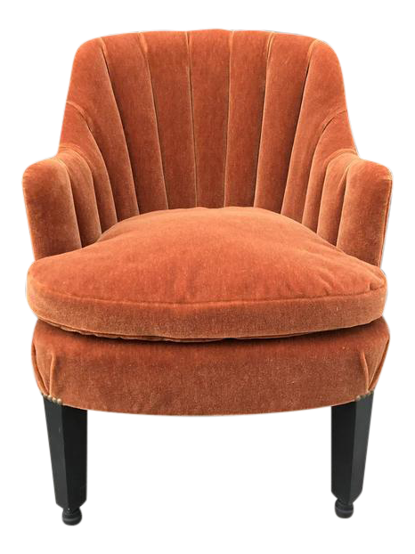 French Art Deco Side Chair In Mohair   Image 1 Of 5
