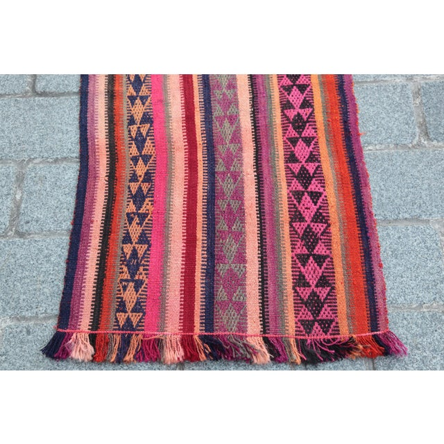 Colorful Striped Cicim Kilim -5' X 1' 5'' Kilim - Image 5 of 11