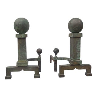 Antique Ball Tip Bronze Patina Andirons For Sale