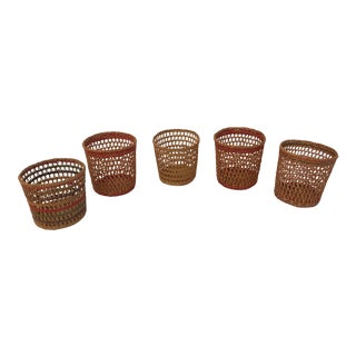 Mid Century Woven Glass Holders - Set of 5 For Sale