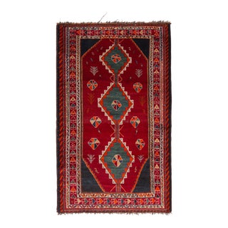 Antique Gabbeh Geometric Red and Blue Wool Persian Rug For Sale