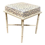 Image of Port 68 Transitional Blue and White Leopard Print Doheney Bench For Sale