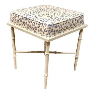 Port 68 Transitional Blue and White Leopard Print Doheney Bench For Sale