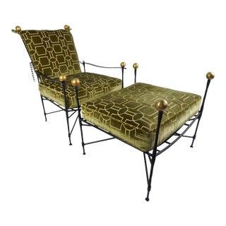 Mario Papperzini Wrought Iron Lounge Chair & Ottoman, 2pcs For Sale