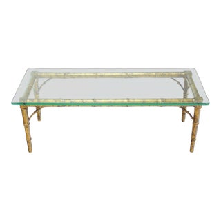 Drexel Lacquered Wood Faux Bamboo & Glass Top Rectangular Coffee Table For Sale