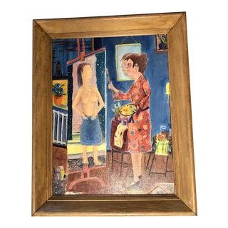 Vintage Original Modernist Nude Interior Artist Painting For Sale