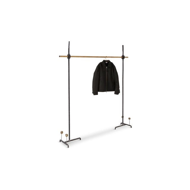 Gold Hollywood Regency Bespoke Clothing Rack in Wrought Iron and Brass For Sale - Image 8 of 10