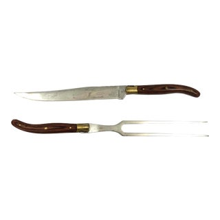 French Laguiole Set of Carving Fork & Knife For Sale