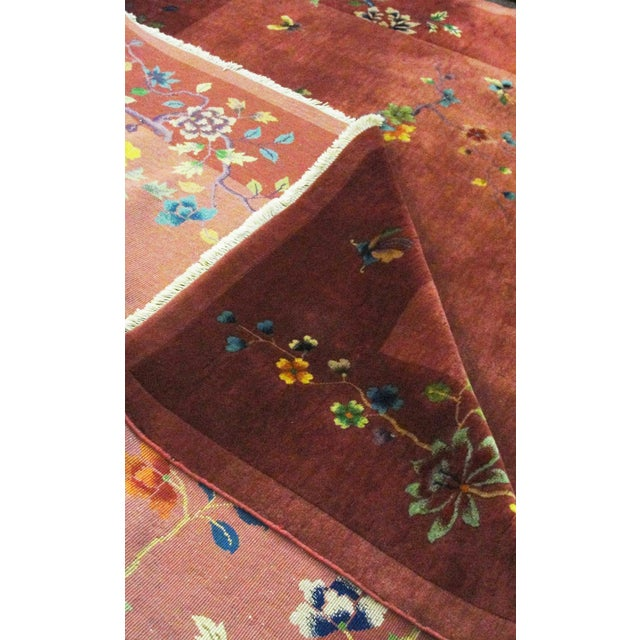 This is an authentic handmade rug. It was made in China around the 1920s or before. It has very fine wool quality. This...