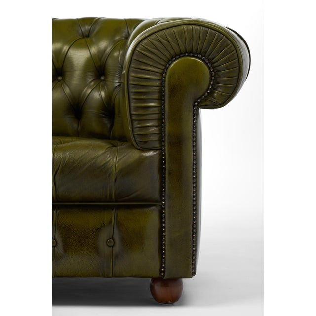 Animal Skin Vintage Chesterfield Green Leather Club Chair For Sale - Image 7 of 11
