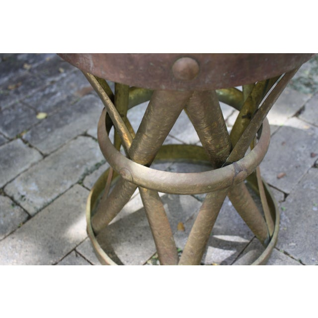 Mid-Century Hammered Brass Drum Table - Image 5 of 6