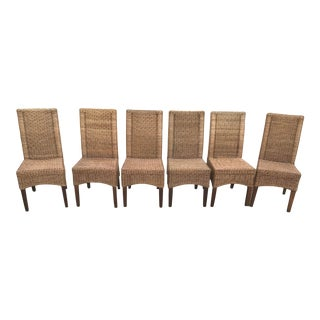 Vintage Wicker Skirted Dining Chairs - Set of 6 For Sale