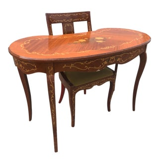 Antique Italian Fruit Wood Kidney Writing Office Desk w/ Chair For Sale