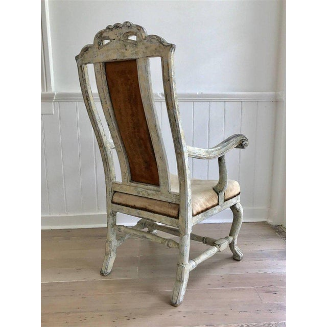 Baroque Swedish Baroque Armchair in Original Paint For Sale - Image 3 of 9