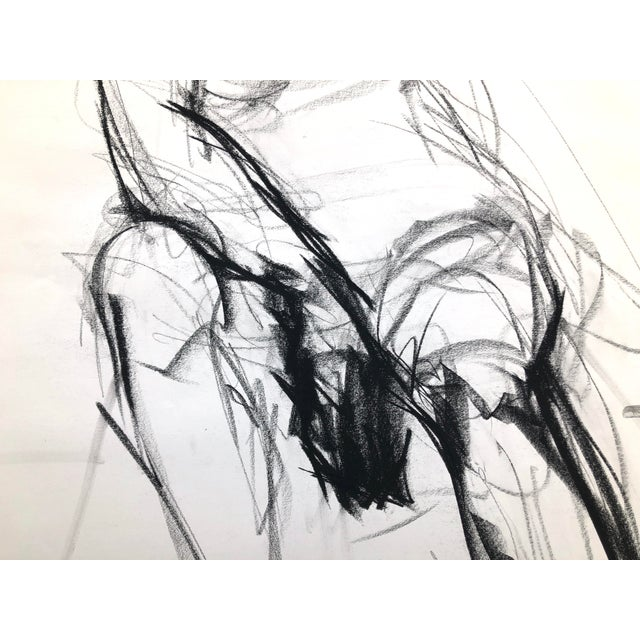 """""""Seated Shifting Figure"""", by Artist David O. Smith - Scale Contemporary Figure Drawing in Charcoal For Sale - Image 9 of 12"""