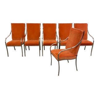1960s Vintage Chrome Milo Baughman Dining Chairs - Set of 6 For Sale