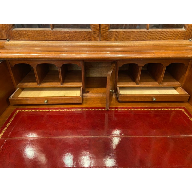 Metal Vintage Mahogany Breakfront With Butlers Desk For Sale - Image 7 of 12