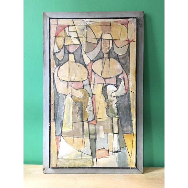 Wood 1940s Abstract Cubist Style Painting of French Nun Musicians For Sale - Image 7 of 7