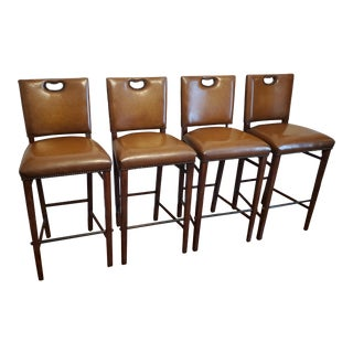 """Theodore Alexander """"Officer's Mess Bar Stools"""" - Set of 4 For Sale"""