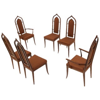 Set of 6 Danish Mid-Century Modern Dining Chairs Dome Shape Back Oiled Walnut For Sale