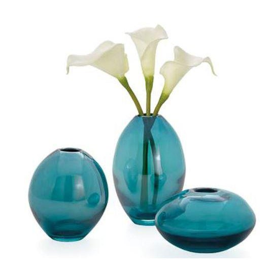 Kenneth Ludwig Chicago Kenneth Ludwig Chicago Turquoise Glass Vase-Set of 3 For Sale - Image 4 of 7