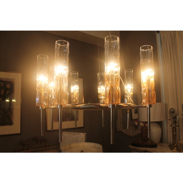 Eight Light Rose Gold Glass Chandelier - Image 3 of 7