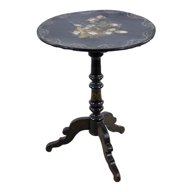 19th Century Victorian Papier-Mâché Round Mother-Of-Pearl Side Table For Sale