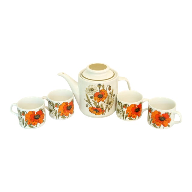 J & G Meakin Poppies Teapot & Cups For Sale