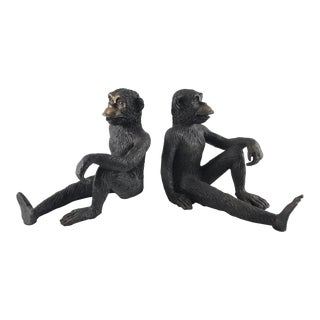 Vintage Cast Brass Sitting Monkey Bookends - a Pair For Sale