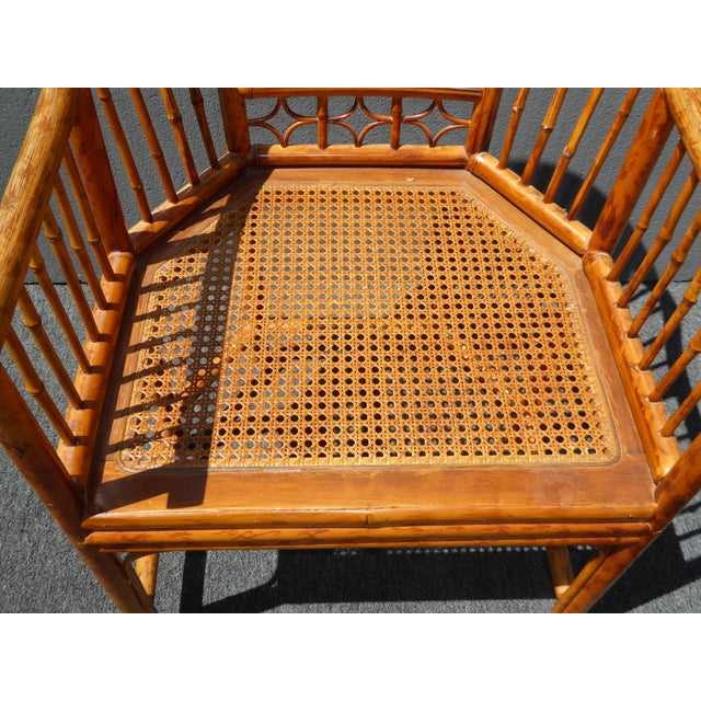 Vintage Chinoiserie Brighton Pavillion Style Rattan Bamboo & Cane Arm Chair For Sale - Image 9 of 11