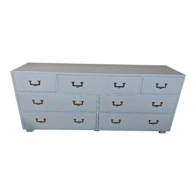 1960s Campaign Henredon High Gloss White Dresser Credenza Buffet For Sale