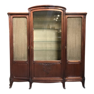 1920s Art Nouveau 3-Door Display Cabinet For Sale