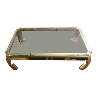 Karl Springer Style Brass and Glass Italian Coffee Table