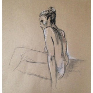 Seated Female Figure on Kraft Original Drawing For Sale