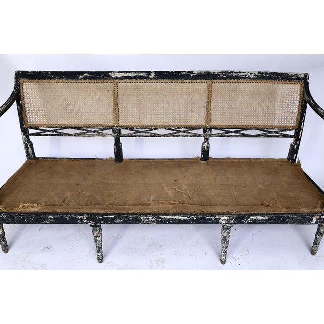 Wood Swedish Cane Back Settee For Sale - Image 7 of 13