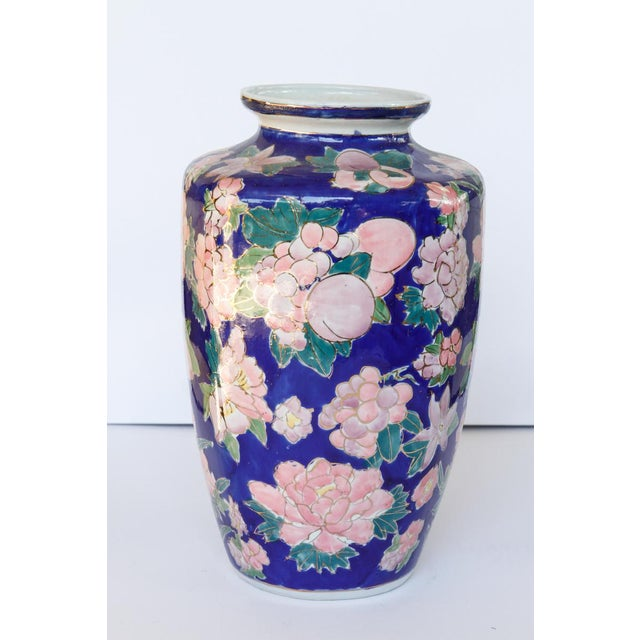 Blue Mid Century Blue Ceramic Vase With Bouquets of Pink Flowers Outlined in Gold For Sale - Image 8 of 8