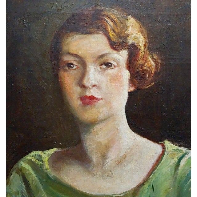 Americana Antonia Greene -1920s Portrait of a Woman in Green -Oil Painting For Sale - Image 3 of 9