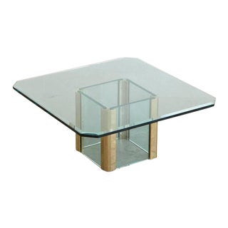 Large Brass Coffee Table with Beveled Glass Top by Leon Rosen for Pace, 1970s For Sale