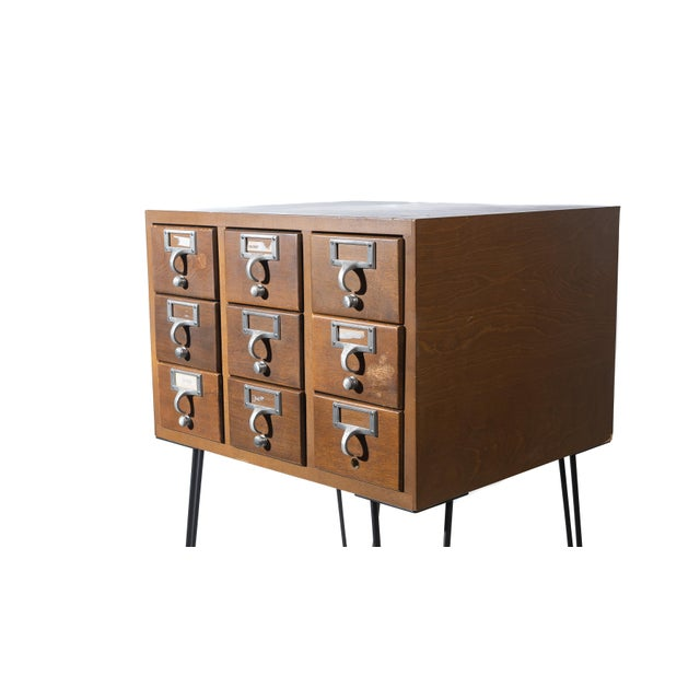 Vintage Hairpin Leg Card Catalogue Side Tables - a Pair For Sale - Image 4 of 9