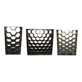 Vintage Galvanized Metal Honeycomb Wine Racks (SOLD Individually) For Sale