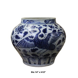 Chinese Blue White Porcelain Graphic Fat Body Vase Jar Preview