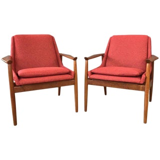 Arne Vodder for Slagelse No. 810 Teak Lounge Chairs - A Pair For Sale